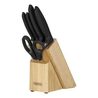 Set Cuchillos de Cocina Tramontina 7 Piezas con Taco de Madera