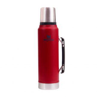 Termo Stanley Rojo 1 Litro Clásico con Tapón Cebador